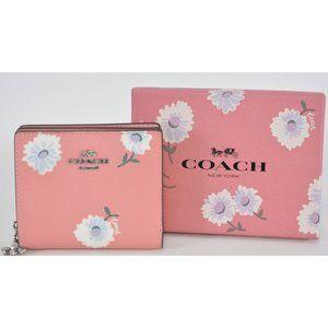New Coach Pink Daisy Print Zip Mini Wallet
